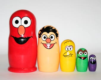 Nesting doll Sesame Street for kids signed matryoshka russian dolls