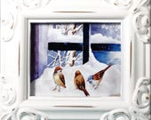 Miniature Framed Print - Robins In Snow With Window