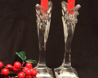 Tall Mikasa Art Deco Chevron Lead Crystal Candle Holders / Candle Sticks