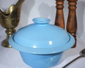 Frankoma Westwind Robins Egg Blue Covered Casserole, 2 Quart Lidding Serving Bowl, 1960s Classic Kitchen