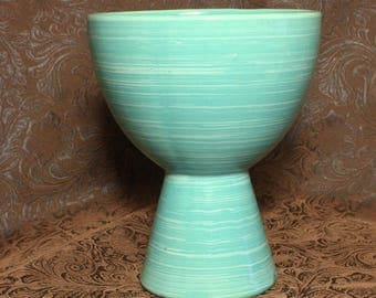 McCoy Pottery Aqua Wide Mouth Vase, Striped Harmony Vase in Misty Blue, Home Decor