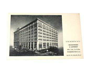 1940s Unused Woodward and Lothrop Postcard, Black and White, Washington DC, Ephemera, Collectibles