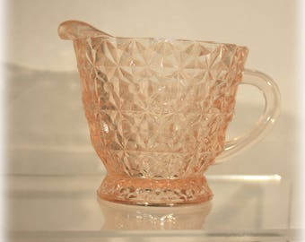 Pink Holiday Pattern Creamer by Jeannette Glass in Button and Bows