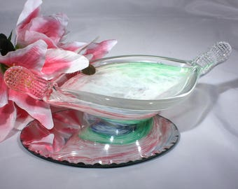 Murano Hand Blown Art Glass Bowl with Pinched Handles