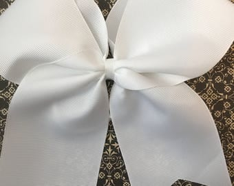 Classic White Cheer Bow-simple Cheer Bow- Softball Bows- white Soccer Bow- Large Cheer Bow- white Cheer Bow- Cheer Bow