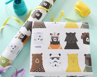 star bears wrapping paper, birthday wrapping paper, party