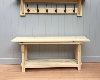 Hall bench with hat and coat rack with shelf.