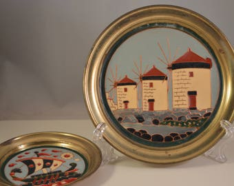 Vintage  plates thin brass,enamel,wall hanging ship and mills theme...2 items set