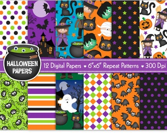 Halloween digital papers, Halloween papers, Halloween patterns, Halloween scrapbook papers, Halloween backgrounds, Commercial Use