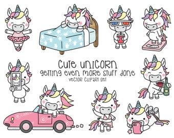 Premium Vector Clipart - Kawaii Unicorn - Cute Unicorn Planning Clipart - Even More Unicorns - Instant Download - Kawaii Clipart