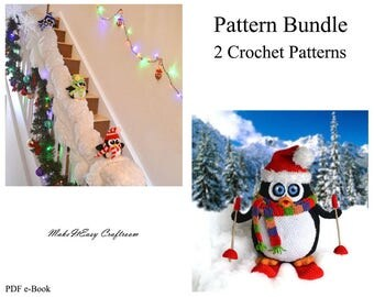 Christmas crochet pattern bundle 2 patterns Crochet penguins pattern Christmas penguins Skiing penguin Banister penguin Digital download