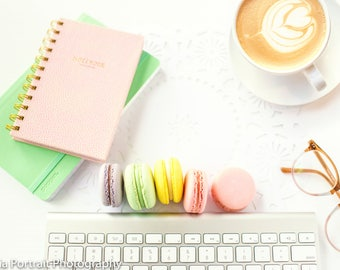 Coffee and Macaron flatlay stock photography