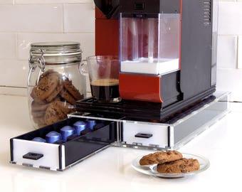 Nespresso Coffee Pod Drawer, white Coffee Capsules Holder, Coffee Organizer, Capsules Storage Unit, kitchen Decor Design, Counter Top Stand