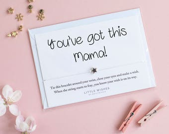 New mum gift, motivational gift for new mum, new mama, wish bracelet, pregnancy gift, new baby card, gift for mama