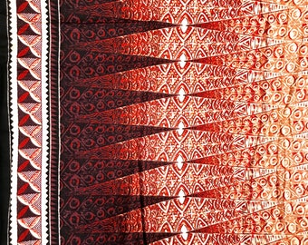 5 YARDS Tiki Hawaiian Fabric Barkcloth Brown Black Trendtex Fabrics Maori Tiki Bar Tapa Cloth Hawaii