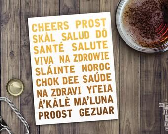 Cheers Translations Poster; Beer Art, German, Polish, French, Home Decor, Art Print, Printed Poster, Craft Beer Lover, Oktoberfest