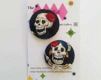 Fabric Dia de Los Muertos Earrings, studs, animal print, round earrings,