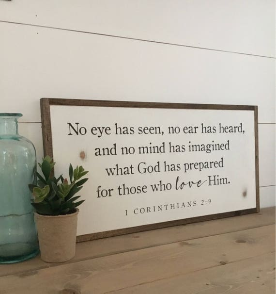 NO EYE HAS seen 1'X2' | distressed rustic wall decor | painted shabby chic wall plaque | urban farmhouse sign | I Cor 2:9