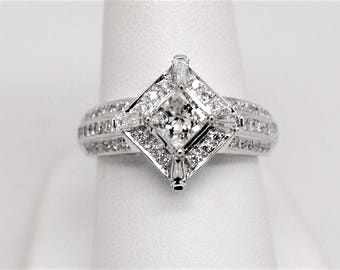 1.46ctw Princess Baguette Round Diamond Halo Engagement Ring 14k White Gold