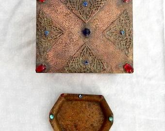 SALE Apollo Studios Trinket Box and Pin Tray - Antique Apollo Box and Tray - Bernard Rice's Sons Cedar Box and Glass Cabachon Tray - Apollo