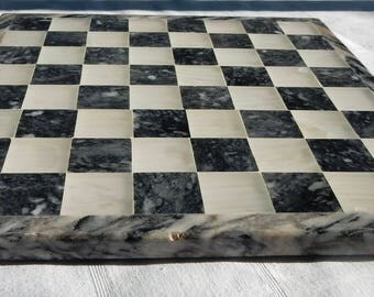Hard Stone Chess and Checker Board - Game Board - Contrasting Colors Inlaid Stone Game Board - Mosaic Black and White Chess-Checkers Board