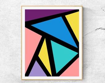 Geometric Abstract Wall Art Print 0504, Geometric Painting, Triangular Pattern, Minimalist art, Modern Art Print, Triangle Art Print