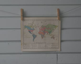 1910's Vintage World Demography Map