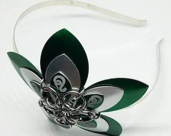 Large Slytherin Scale Flower Chainmaille Headband