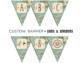 The Adventure Begins Baby Shower Theme Banner Journey Map Compass Bunting Flags Digital or Printed