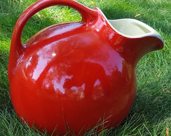 1940s Hall's Superior Quality Red Tilt Ball Pitcher