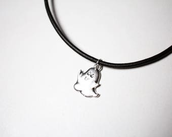 Ghost charm necklace, chokers, leather chokers.