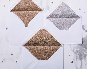 Silver or Gold glitter-lined white envelopes - Pack of 10