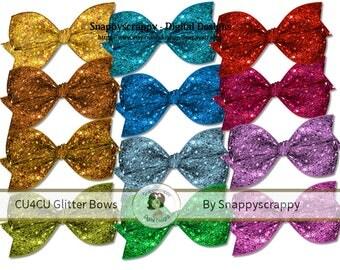 Glitter Bow Clipart,  Digital Scrapbooking. Glitter Bow Scrap Kit Collection CU4CU