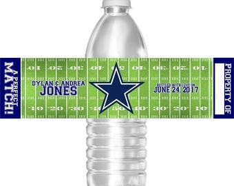 Printable Dallas Cowboys Football Wedding Water Bottle Labels 16.9 oz Water Party Favors Baby Shower Bar Mitzvah Birthday