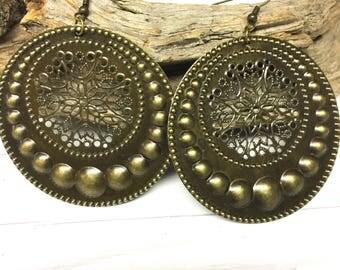 Boho circle earrings