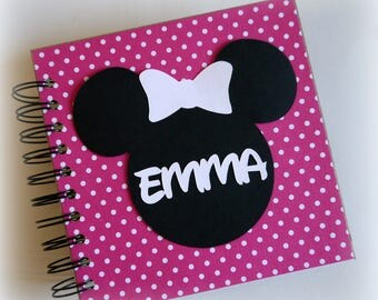 2018 80 pgs Pink polka dots PERSONALIZED  Disney Autograph Book Scrapbook Use it as a Travel Journal Vacation Photo Book 1822