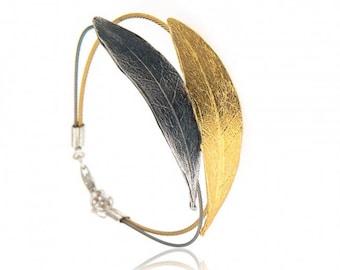 Handmade Gold Plated Olive Leaf Bracelet