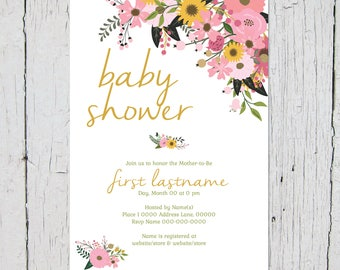 Floral Baby Shower Invites