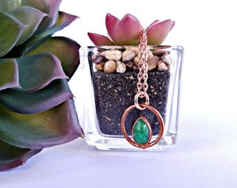 Copper Electroformed Emerald Necklace