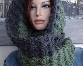Handmade Army Green Steel Gray Winter Cowl Hooded Scarf Extra Thick Scrunchable Cowl Scarf, Reversible Colors Work for Girls and Guys!