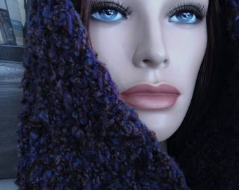 Chunky Infinity Scarf, Handmade Scarf Super Soft Dark Purple Textured Cowl Extra Long Loop Scarf for Winter Ready to Ship