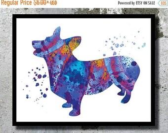 SUMMER SALE Welsh Corgi Watercolor Print Corgi Dog Art Print Dog Watercolor Home Decor Watercolor painting Dog Illustration Children's Wall