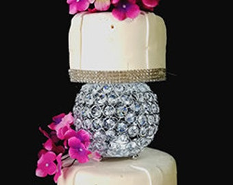 Silver Orb Crystal & Metal Cake Stand By Forbes Favors With Battery LED Lights and Crystals for All Occasions