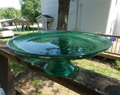 Teal Green Footed Cake Plate, 12 Inch Diameter, 4 1/4 Inches Tall, Diamond Hobnail Design, Juniper Green Glassware Cake Stand