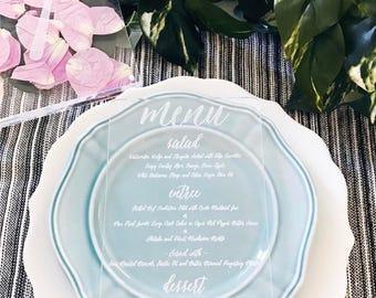 Laser Cut Etched Acrylic Menu, Wedding Decor, Party Decor, Perfect Weddings, Gold Wedding Decor, Acrylic Wedding Signs, Custom Decor