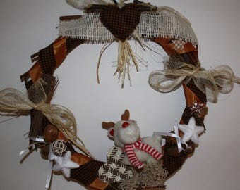 Christmas Wicker wreath style country 35 cm