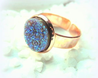 Faux Druzy rose gold tone ring