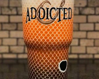 Addicted to Fishing Redfish Design Ombre Fade and Glitter Painted 30 oz tumbler