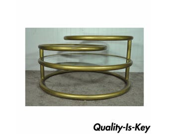 Vintage Hollywood Regency 3 Tier Round Swivel Glass Coffee Table Mid Century Modern