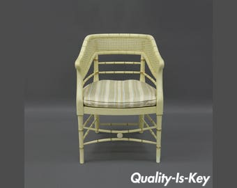 Faux Bamboo Cane Arm Chair Wood Hollywood Regency Chinese Chippendale Vintage Rattan